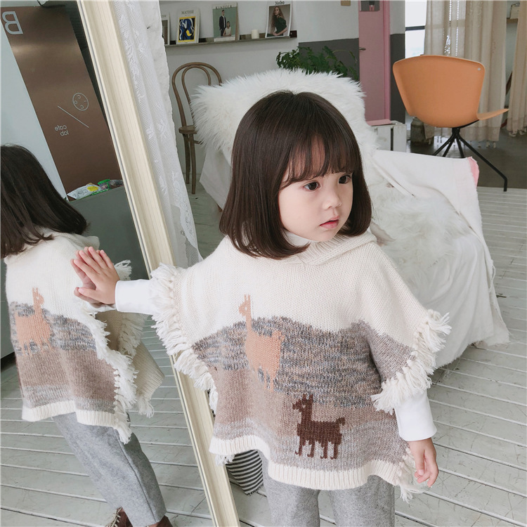 Baby Girls Alpaca Tassel Cloak  1