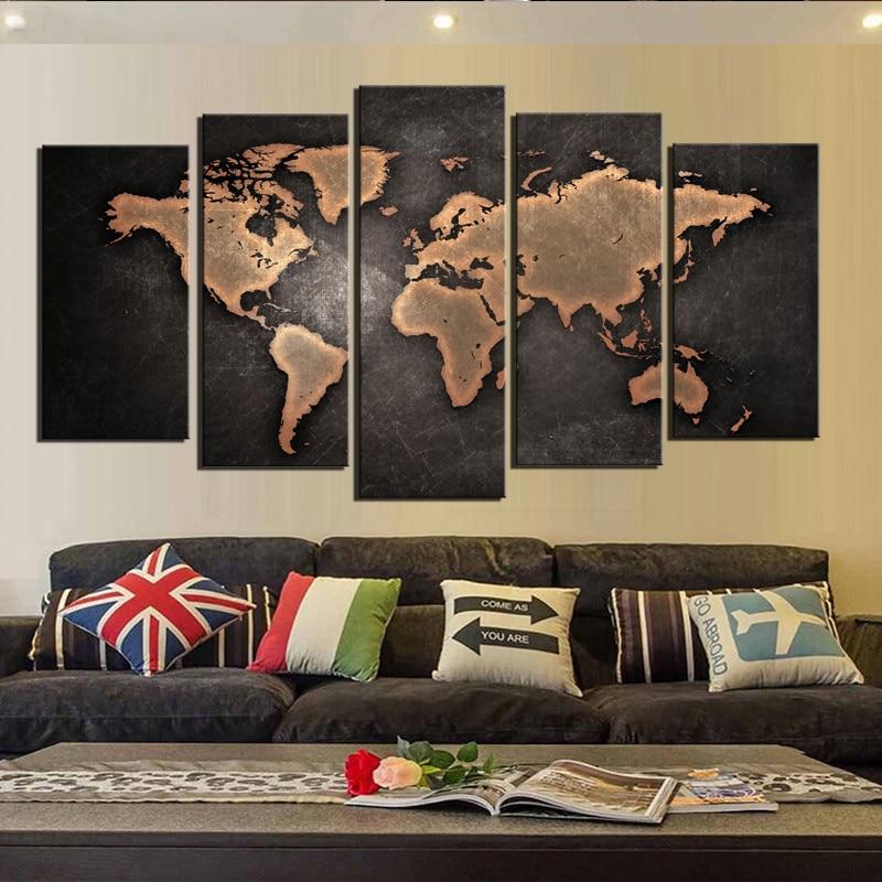 მსოფლიო რუქა შავი ფონი კედლის მხატვრობის სურათები ტილოზე დაბეჭდვა ტილოზე Art სურათი სახლის თანამედროვე გაფორმებისთვის წვეთოვანი გადაზიდვა