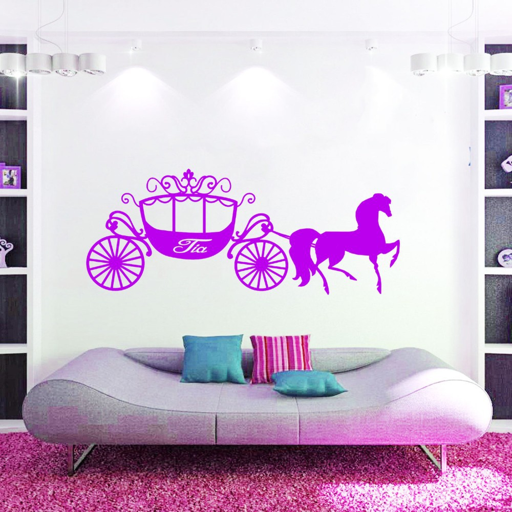 Horse sticker wall art - Large Wall Art Girl Gift Princess Cinderella Horse Carriage Vinyl Decals Personalized Girls Name Stickers