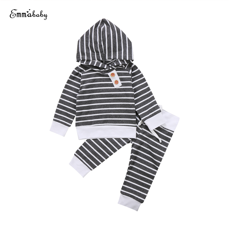 Baby Unisex Striped Clothing Set Warm Newborn Baby Boy Girl Hooded T-shirt Tops+Pants 2PCS 2017 New Bebes Outfit Kid Clothes Set