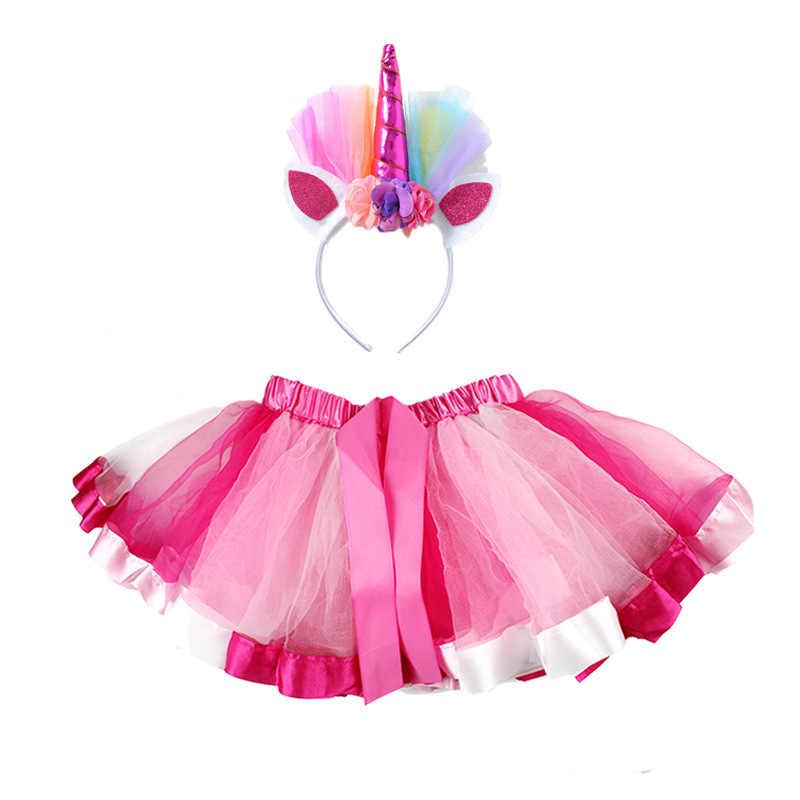 Los niños muestran la falda de baile unicornio falda de tutú arcoíris + diadema chica Pettiskirt Bowknot Falda corta tutú trajes niñas