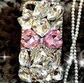 Luxo bling cristal pink bow 3d rhinestone diamond case capa para samsung galaxy s3 s4 s5 s6 s7 note 3 nota 4 nota 5 C5
