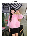 4 Colors Plus Size Europe New Hot Sale Women Outerwear  Imitation Mink Fur Jacket O-neck Long Sleeves Pocket Short Coat