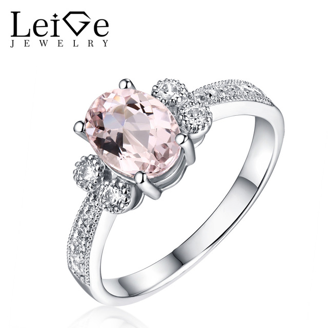 Leige Jewelry Natural Morganite Gemstone Rings for Women 925 Sterling Silver Oval Cut Promise Ring with Stones Christmas Gift
