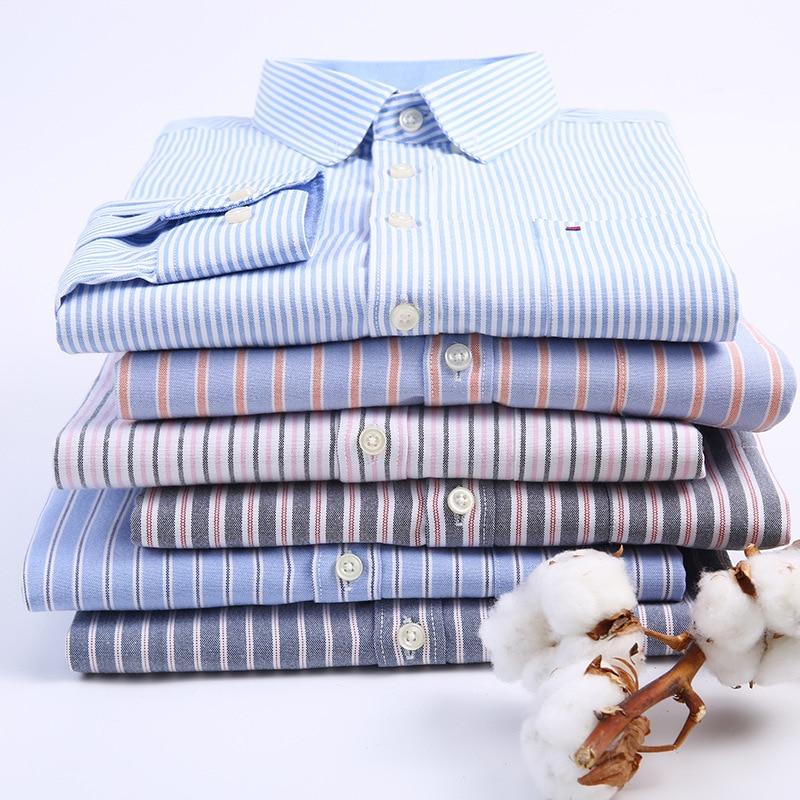 Image 5 - Мужские рубашки с длинным рукавом, Стандартная посадка, мужская клетчатая рубашка, полосатые рубашки, Мужская одежда, Оксфорд, Camisa Social, 5XL, 6XL, большие размеры, уличная одежда-in Повседневные рубашки from Мужская одежда