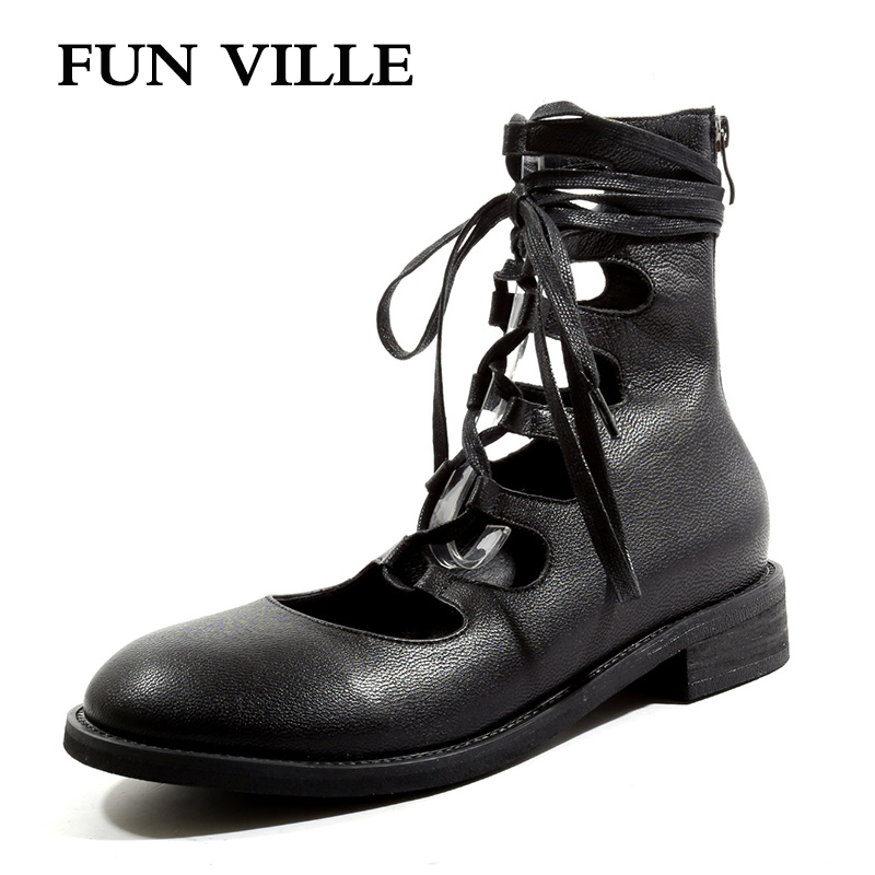 FUN VILLE New Fashion Spring Summer Boots Women Ankle Boots Genuine Leather Sheepskin boots Round toe