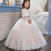 Piękne Białe Koronkowe Aplikacje Flower Girl Dresses Skrzydła Długie Rękawy Puffy Piętro Długość 2017 Dziewczyny Pierwsza Komunia Sukienki