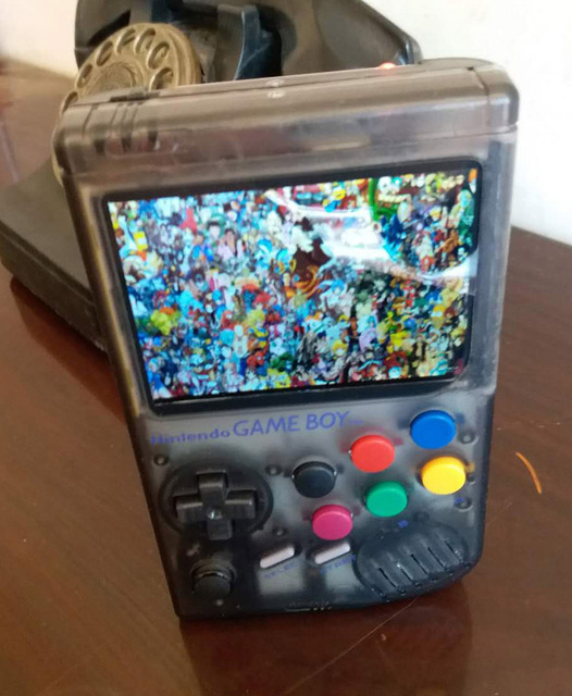Raspberry Pi arcade gameboy handheld game console with Super HD IPS LCD /  Shock joystick / pi 3B 64G Transparent color