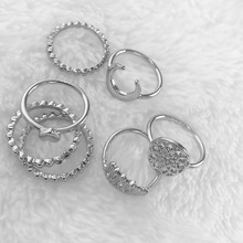 2019 Boho 9 Pcs Luxury Crown Love Heart Rings Set Fashion Jewelry for Women Charm Creative Female Jewellery Accessories Gifts