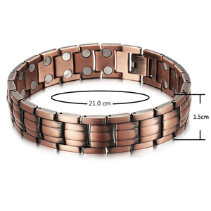 Image 5 - RainSo Red Copper Magnetic Bracelet for Men Women 2 Row Magnet Healthy Bio Energy Bracelets & Bangles 2019 Fathers Day Gift