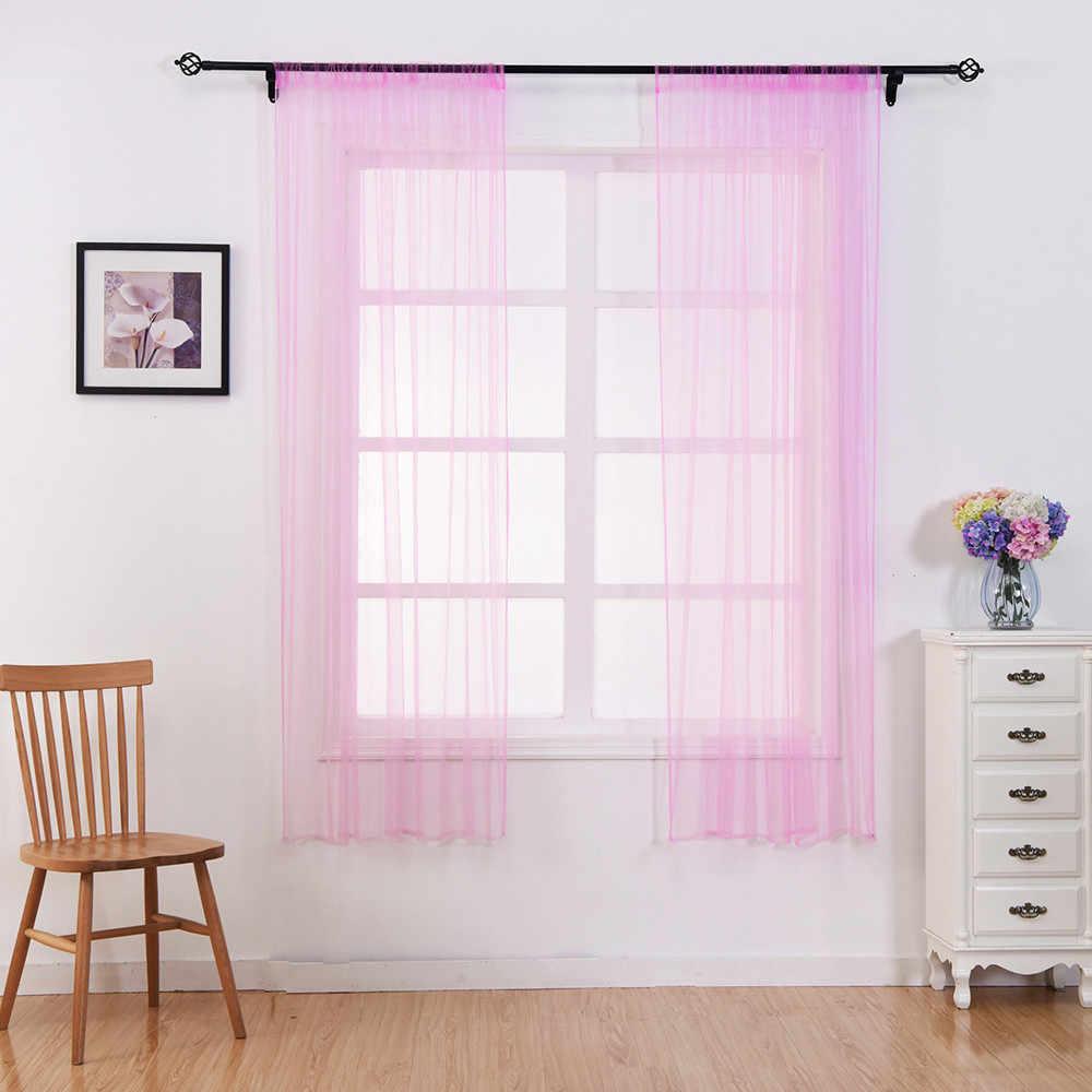 Leaves Sheer Curtain Tulle Window Treatment Voile Drape Valance 1 Panel Fabric