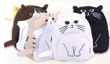 New cute cat rucksack female Korean Edition female middle school schoolbag cat pack фото
