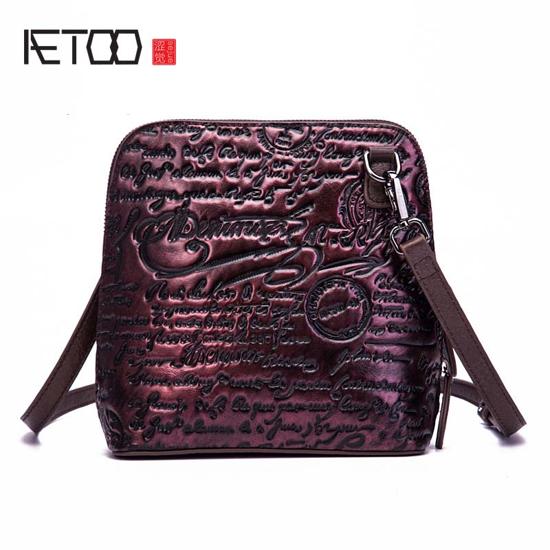 AETOO Leather female female 2018 new retro trend letters embossed shoulder diagonal fashion brush package shell bag women flap free shipping embossing letters package europe fashion genuine leather single shoulder hand his female bag
