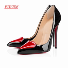 WZYCHDS Top Quality  Women Shoes Red Bottom High Heels Sexy Pointed Toe Red Sole Wedding Shoes Escarpins Semelle 11cm 302-30