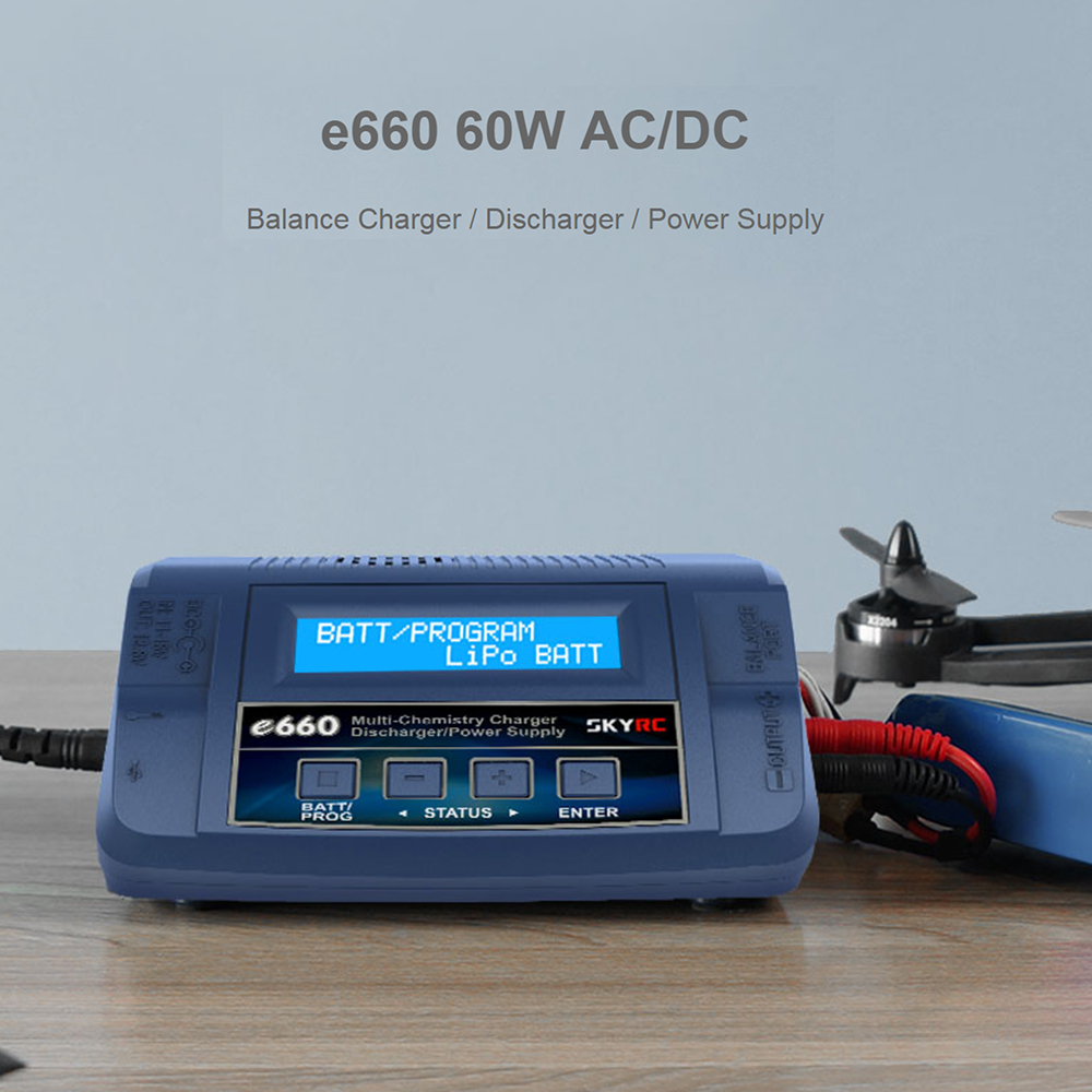 SKYRC RC Car RC Drone e660 60W AC/DC Balance Charger Discharger for LiPo LiHV LiFe Lilon NiCd NiMH PB Battery US EU Plug skyrc b6 nano lipo battery charger discharger 15a 320w dc 9 32v mini charge for life lilon lipo lihv nimh nicd pb battery