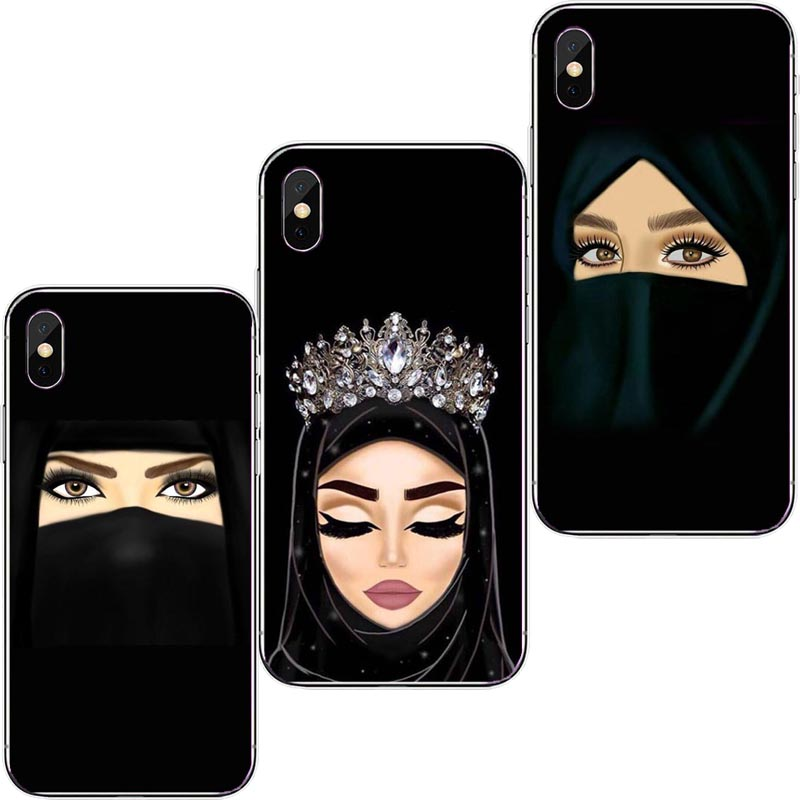 Muslim Islamic Gril Eyes Arabic Hijab Girl soft silicone phone Case for iPhone SE 6S 6Plus 6SPlus 7Plus 8 8Plus XS XSMAX XR Гриль