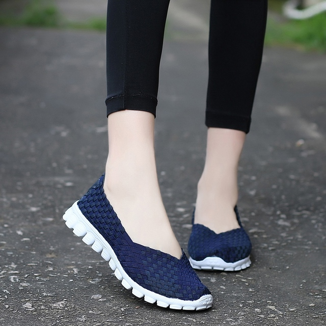 Women Shoes 2019 Summer Casual Flats Shoes Breathable Female Woven Shoes Slip On Ladies Loafers Handmade Shoes Size 35-40