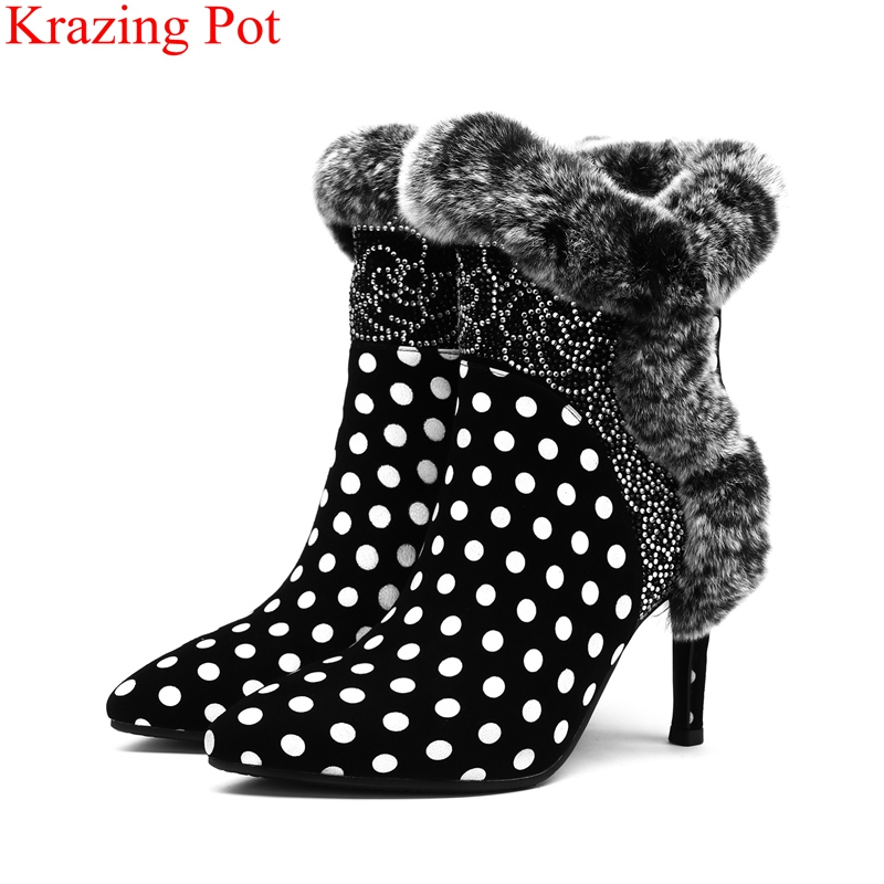 2018 new kid suede zipper sweet polka dot super high print crystal office lady nightclub women ankle boots fur winter shoes L37 high waist polka dot print trumpet pants
