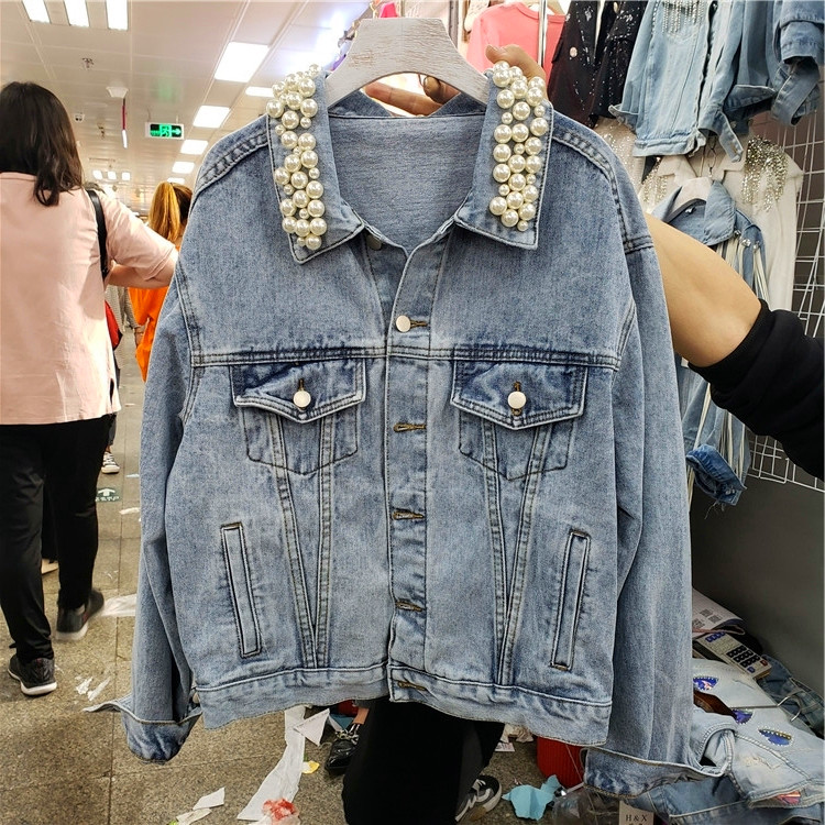 New Fashion Denim Jacket Women's Leisure Nail Pearl Single-row Button Long-sleeved Jeans Coat Female Ladies Basic Jackets Spring