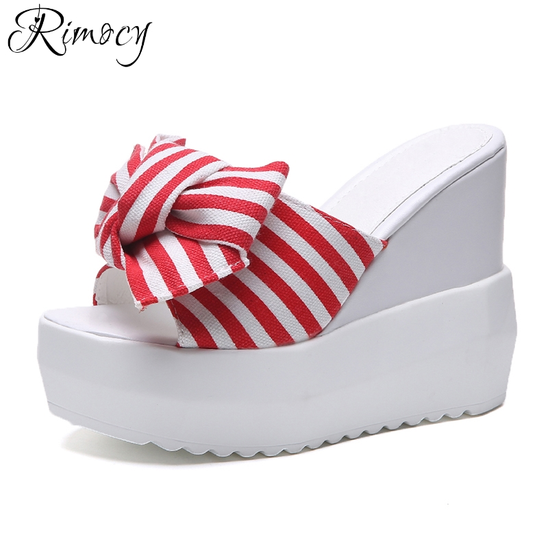 Rimocy summer hot super high heels slip on sandals women 2018 open toe striped bowtie wedges slides casual platform shoes woman hot 2018 summer new fashion women sandals wedges shoes high heel sandals platform open toe buckle casual shoes