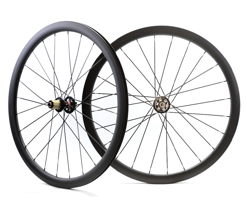 цена на 700C Road disc barke wheelset 38mm depth Clincher/tubular carbon rims 23mm width super light disc cyclocross bike carbon wheels