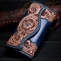 High Quality Genuine Cow Leather Valuable Long Wallet For Men 100% Hand Engraving Noble Blue Female Male Large Clutch Purse