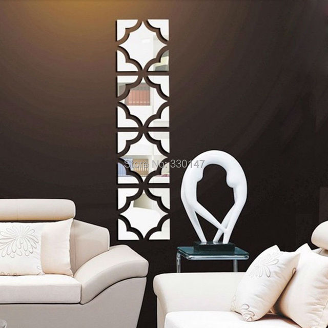 4 Sets Chinese Style Tracery Pattern Acrylic Mirror Wall Sticker