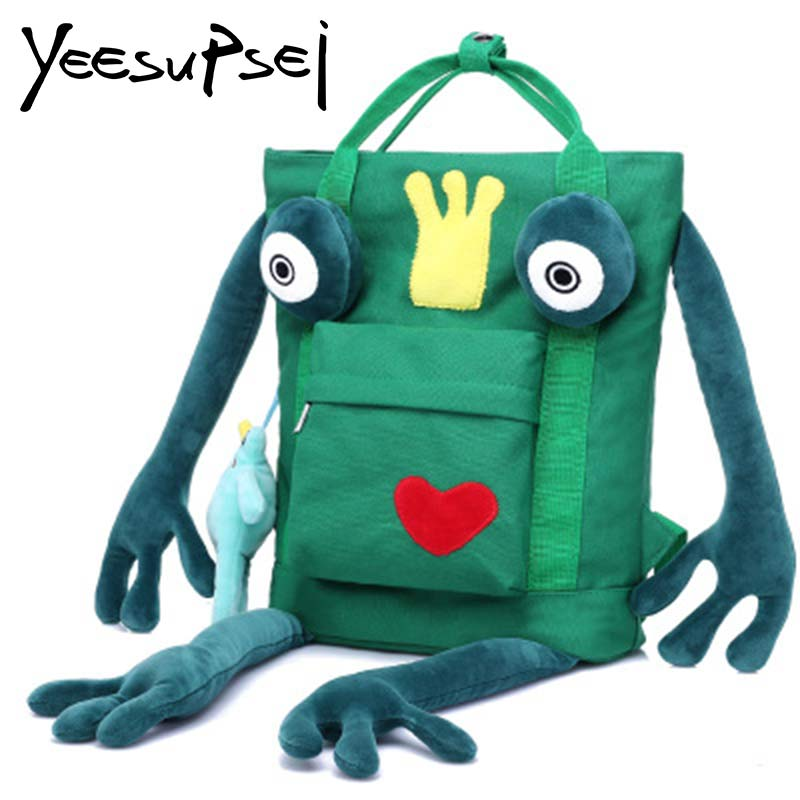 YeeSupSei dessin animé mignon étudiant sac d'école garçons filles personnalité grenouille toile sacs à bandoulière collège étudiant sac de voyage