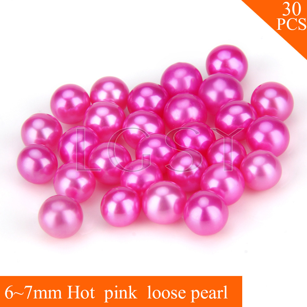FREE SHIPPING, Shinning 6-7mm AAA Hot pink saltwater round akoya pearls 30pcs for fitting Jewelries cluci free shipping get 40 pearls from 20pcs 6 7mm aaa blue round akoya oysters twins pearls in one oysters