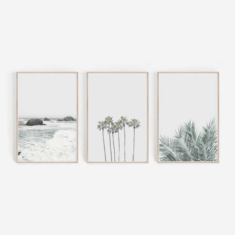 شاطئ يطبع جدار ديكور فني ، مجموعة كبيرة أشجار النخيل طباعة قماش اللوحة الاستوائية المشهد جدار صور غرفة المعيشة ديكور المنزل