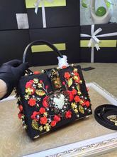 16 luxury box bag retro snakeskin embroidery Limited spell rose nail bead stereo portable box bag