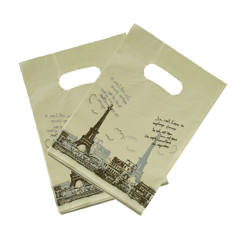 100pcs/lot Tower Design Yellow Plastic Gift Bag 25x35cm Boutique Jewelry Packaging Bags Nice Plastic Shopping Bags With Handle