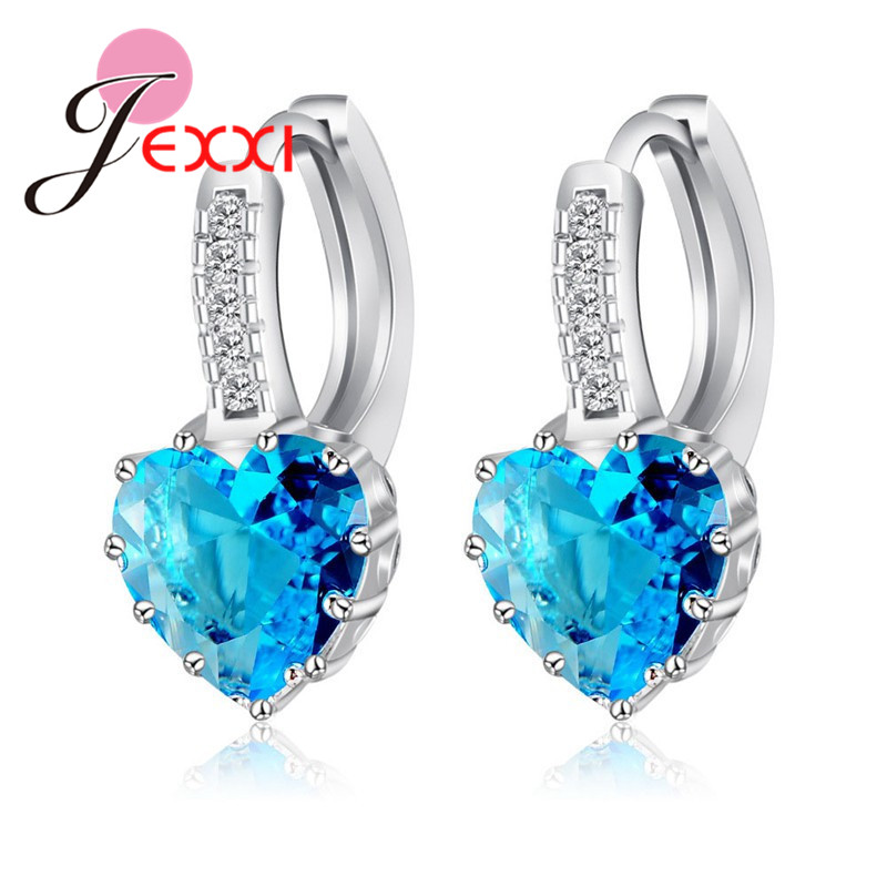 Real Pure 925 Sterling Silver Luxury Colorful Heart Band Jewelry Cubic Zirconia Stone Earrings Fashion For Women Girls