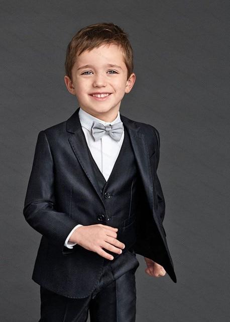 b52f18eba05a Custom Made ( Jacket+Vest+Pant+Tie) Black Boys Blazers Kids Toddler