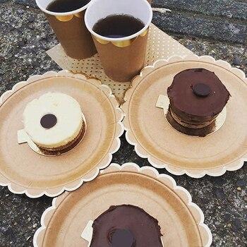 Braun Kraft Papier Einweg Papier Geschirr Sets Papier Platten Tassen