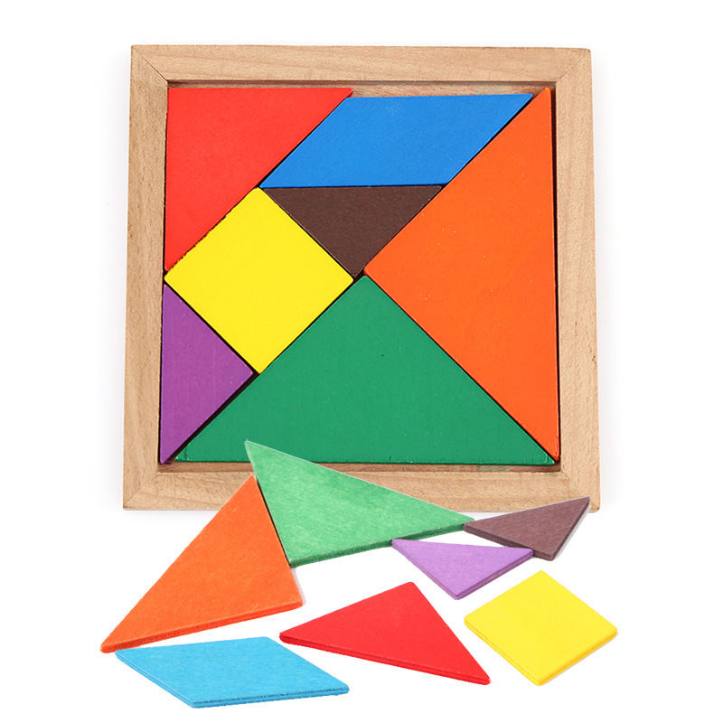 Wooden Tangram 7 Pieces Jigsaw Puzzle Educational Toys for Kids Colorful Square IQ Game  ...
