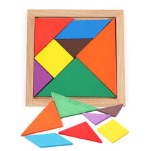 купить Wooden Tangram 7 Pieces Jigsaw Puzzle Educational Toys for Kids Colorful Square IQ Game Brain Teaser Intelligent дешево