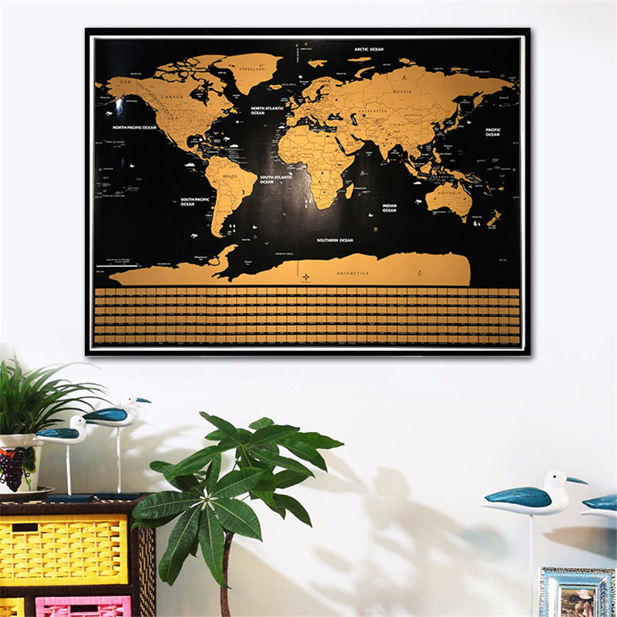 Drop shipping deluxe world map personalized national flag black drop shipping deluxe world map personalized national flag black gold scratch map off foil layer coating poster 825x595 cm in wall stickers from home gumiabroncs Gallery