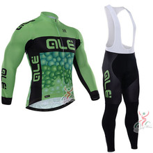 2016 New Outdoor Sport Men's ALE cycling long sleeve jersey bib pants sets Breathable ropa ciclismo muje pro team MTB Racing Hot