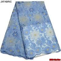 JXFABRIC Novas Pedras de Alta Qualidade Handcut Africano Nigéria Suíço Laço de Tecido Para O Vestido de Casamento de 5 jardas/Lot Africano Suíço Voile Rendas