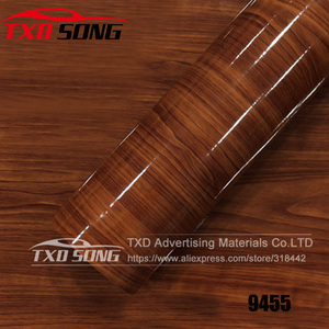 Image 4 - 10/20/30/40/50/60x152CM Glossy WOOD PVC VINYL FILM GLOSSY WOOD GRAIN STICKER FOR CAR INTERIOR DECORATION BY FREE SHIPPING