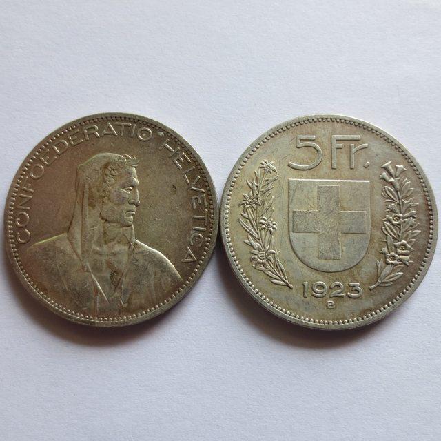 1923 Schweiz Konföderation Silber 5 Franken 5 Franken Kopie
