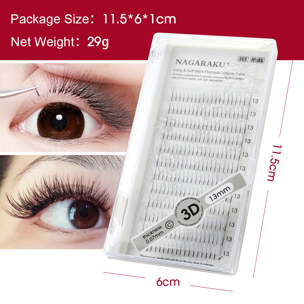 Image 3 - NAGARAKU 5 trays Eyelash Extensions Long stem Premade Volume Fans 3d/4d/5d/6d Lash Russian Volume Pre made Fans Soft Light-in False Eyelashes from Beauty & Health