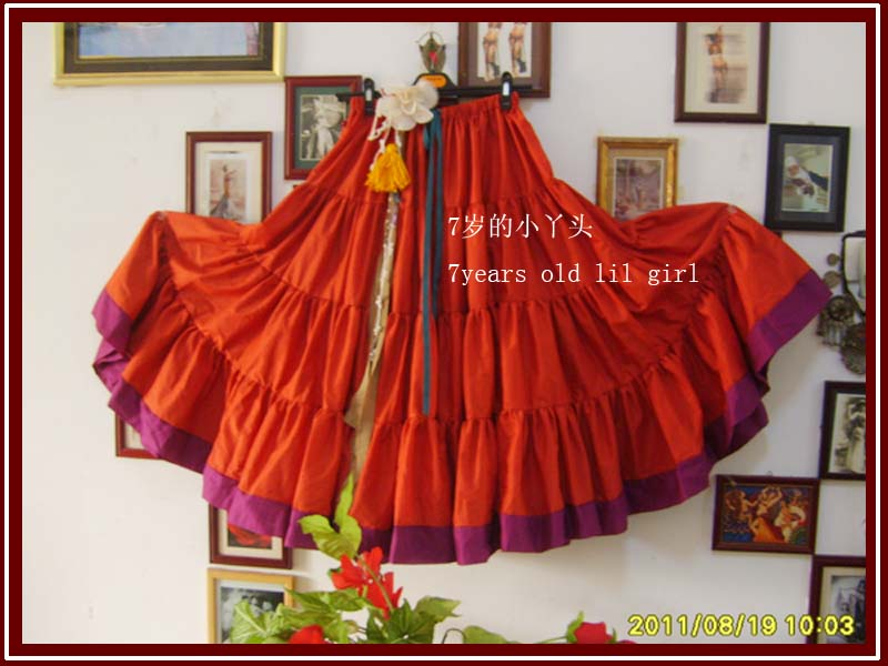 Cotton 4tiered 20yards Ats Gypsy Tribal Belly Dance Skirt With Border EI26