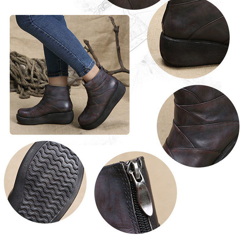 2018 Printemps Mode 1 Appartements Chaussures 2 Littéraire Vintage Dames La Cuir Main Femmes Véritable Style Bottes Cheville En Plus À Taille OnP1Sq