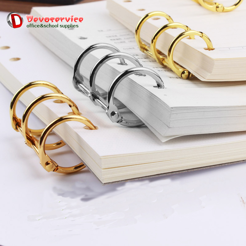 2Pcs/Lot  Metal Plated Loose Leaf Book Binder Hinged Ring Binding Rings Nickel Desk Calendar Circle 3 Rings For Card Key Album