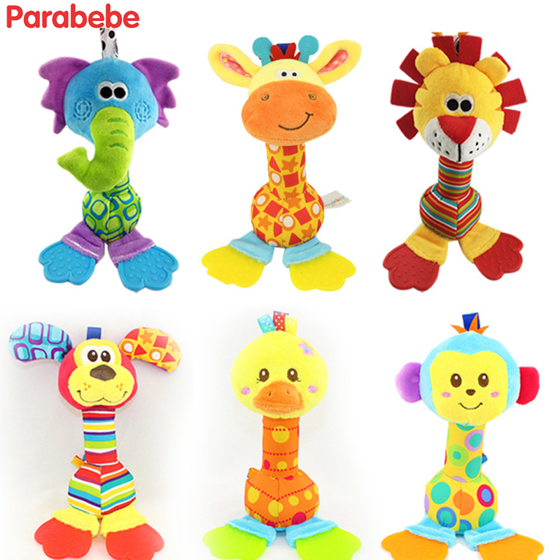 Newborn Baby Toys With Teether 0 12 Months Cartoon Animal Giraffe Baby Boy Girl Rattles Lion Hand Bell Infant Soft Plush Toys