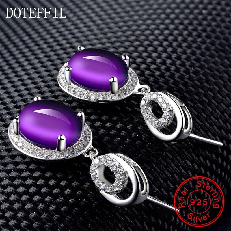 925 argent violet cristal boucles d'oreilles femme luxe charme 100% en argent Sterling boucles d'oreilles mode femmes bijoux - 4