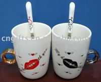 Hot Sell Ceramic Lovers Mug Diamond Ring Couple Cup With Spoons
