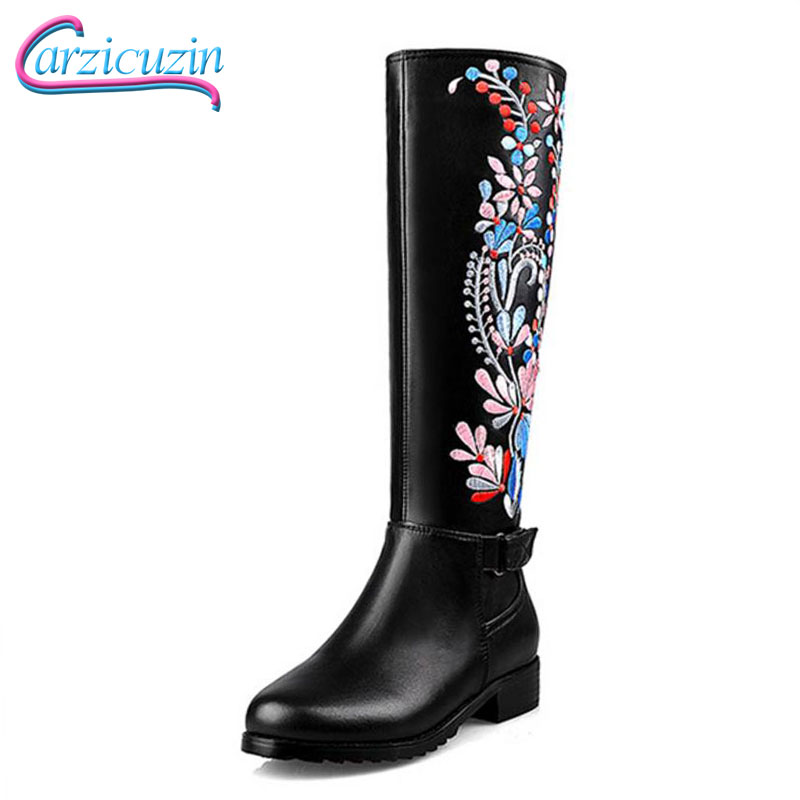 CarziCuzin Women Real Leather Med Heel Knee High Winter Boots For Women Embroidery Flower Brand Shoes Women Warm Bota Size 34-39 все цены